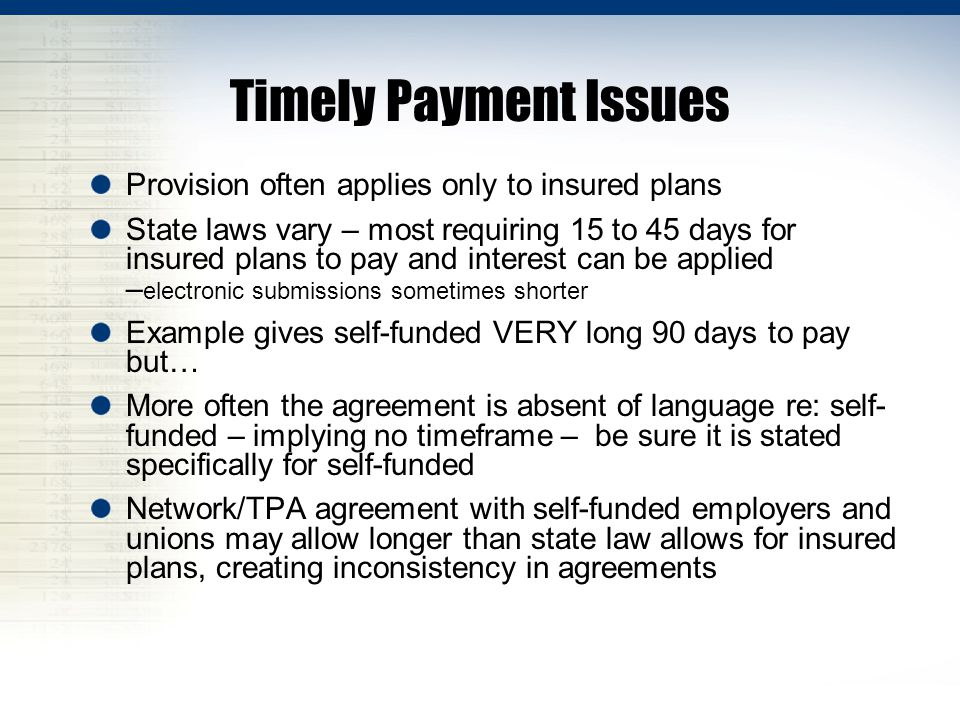 Timely Payment Issues Provision often applies only to insured plans State laws vary – most requiring 15 to 45 days for insured plans to pay and intere