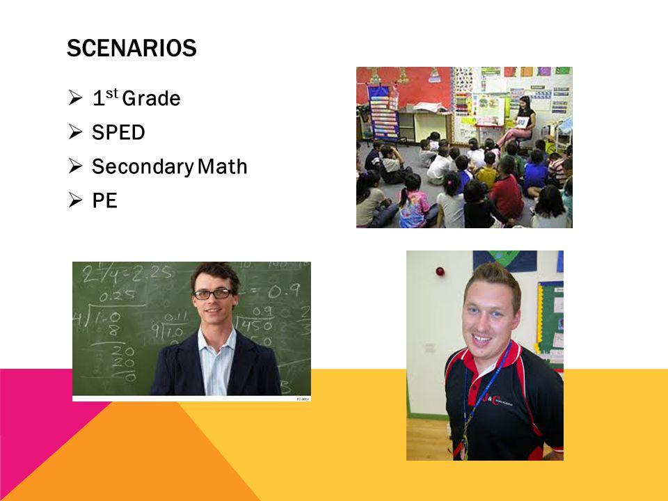 SCENARIOS  1 st Grade  SPED  Secondary Math  PE