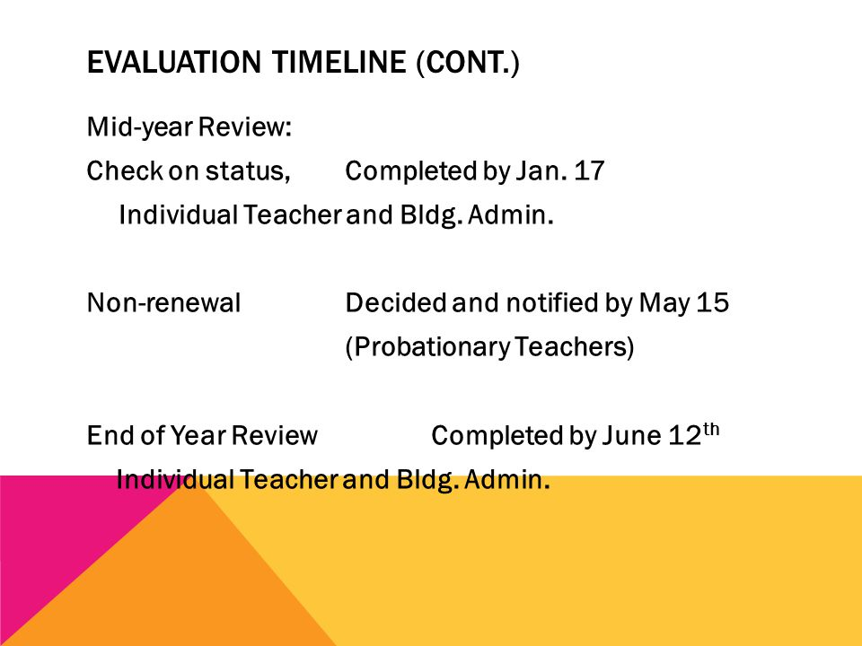 EVALUATION TIMELINE (CONT.) Mid-year Review: Check on status, Completed by Jan.