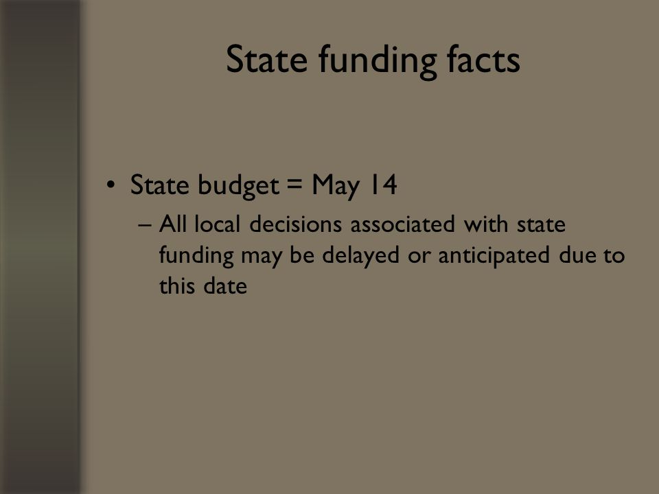 State funding facts State budget = May 14 –All local decisions associated with state funding may be delayed or anticipated due to this date