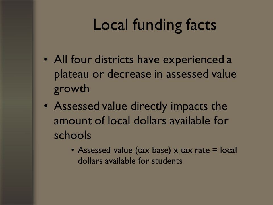 Local funding facts All four districts have experienced a plateau or decrease in assessed value growth Assessed value directly impacts the amount of local dollars available for schools Assessed value (tax base) x tax rate = local dollars available for students