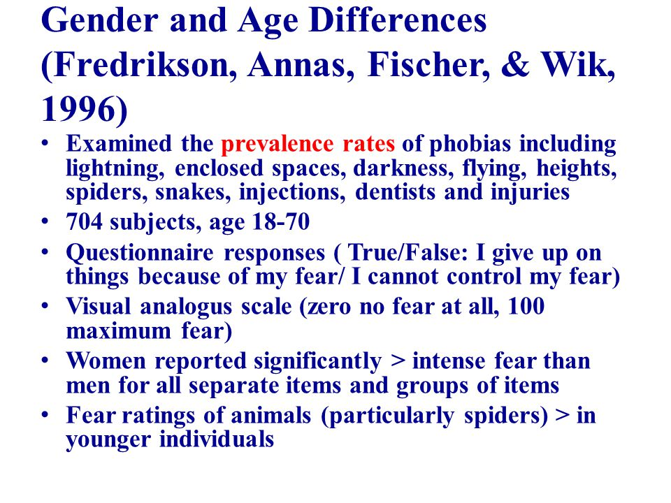 Gender and Age Differences (Fredrikson, Annas, Fischer, & Wik, 1996) Examined the prevalence rates of phobias including lightning, enclosed spaces, darkness, flying, heights, spiders, snakes, injections, dentists and injuries 704 subjects, age 18-70 Questionnaire responses ( True/False: I give up on things because of my fear/ I cannot control my fear) Visual analogus scale (zero no fear at all, 100 maximum fear) Women reported significantly > intense fear than men for all separate items and groups of items Fear ratings of animals (particularly spiders) > in younger individuals