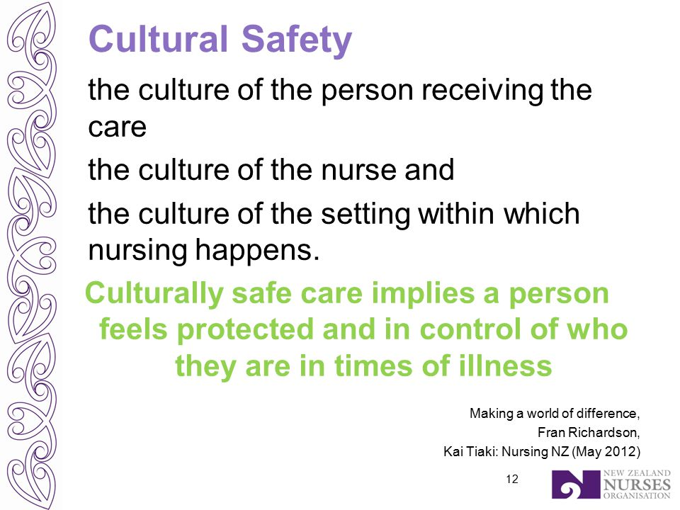 Cultural Safety the culture of the person receiving the care the culture of the nurse and the culture of the setting within which nursing happens.