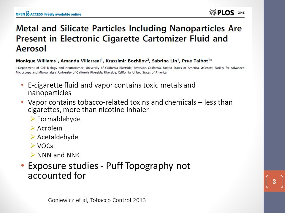 E-cigarette fluid and vapor contains toxic metals and nanoparticles Vapor contains tobacco-related toxins and chemicals – less than cigarettes, more than nicotine inhaler  Formaldehyde  Acrolein  Acetaldehyde  VOCs  NNN and NNK Exposure studies - Puff Topography not accounted for Goniewicz et al, Tobacco Control 2013 8