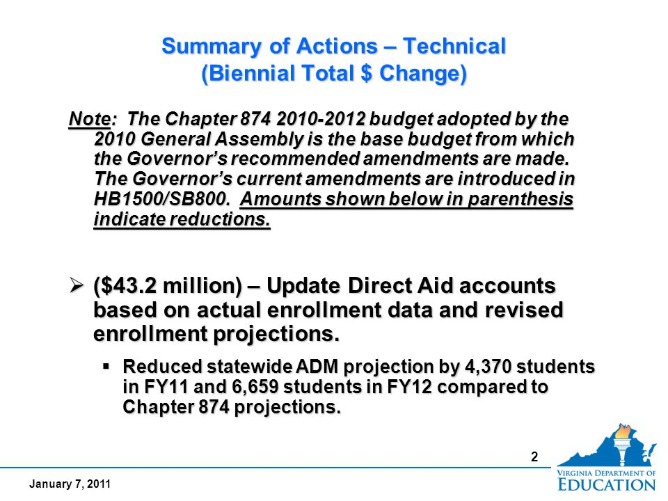 January 7, 2011 2 Summary of Actions – Technical (Biennial Total $ Change) Note: The Chapter 874 2010-2012 budget adopted by the 2010 General Assembly is the base budget from which the Governor's recommended amendments are made.