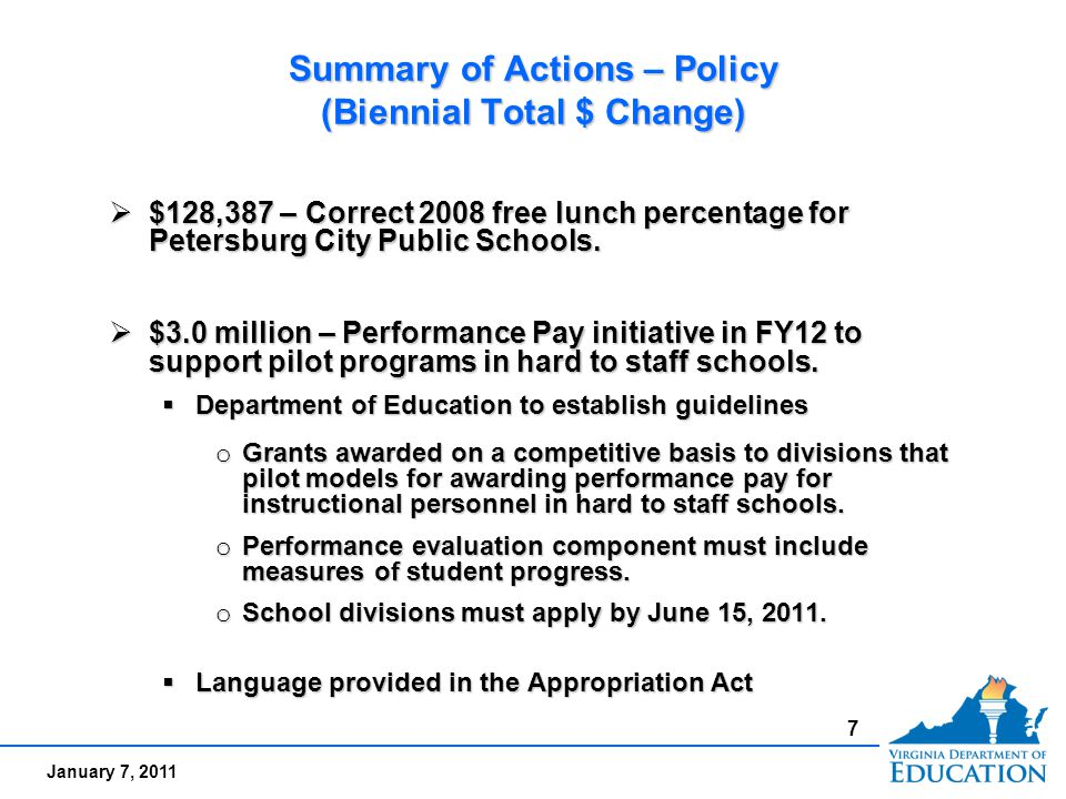January 7, 2011 Summary of Actions – Policy (Biennial Total $ Change)  $128,387 – Correct 2008 free lunch percentage for Petersburg City Public Schoo