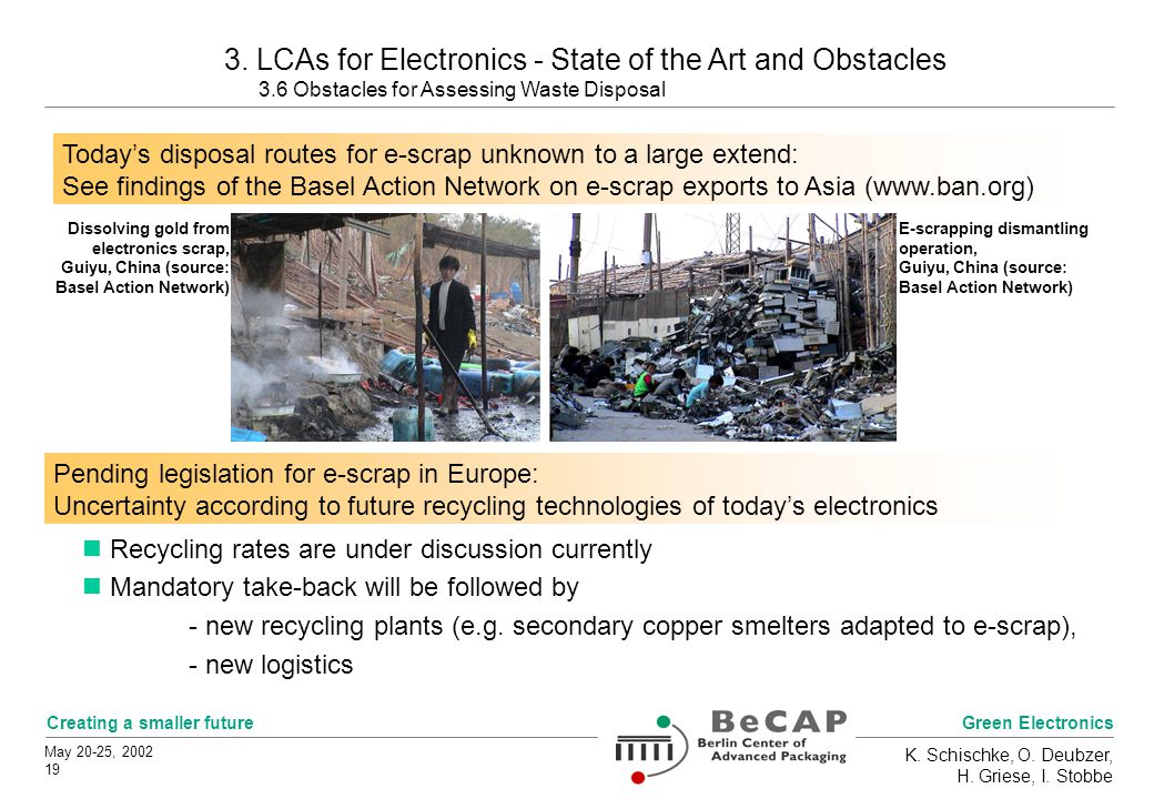 Green Electronics Creating a smaller future May 20-25, 2002 19 K. Schischke, O. Deubzer, H. Griese, I. Stobbe 3. LCAs for Electronics - State of the A