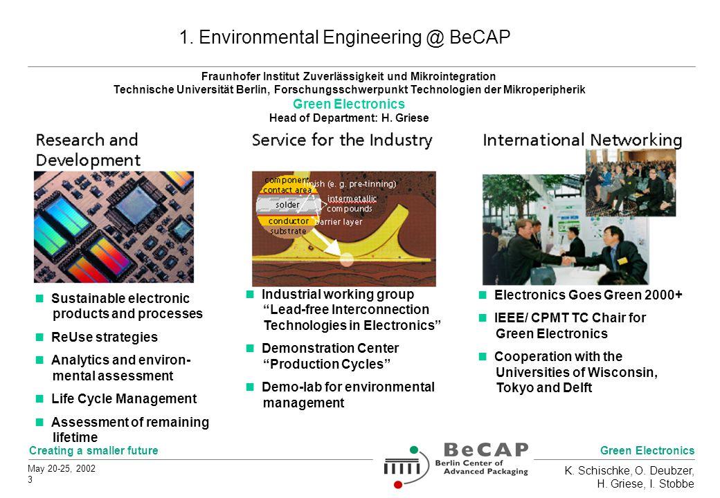 Green Electronics Creating a smaller future May 20-25, 2002 3 K. Schischke, O. Deubzer, H. Griese, I. Stobbe 1. Environmental Engineering @ BeCAP Indu