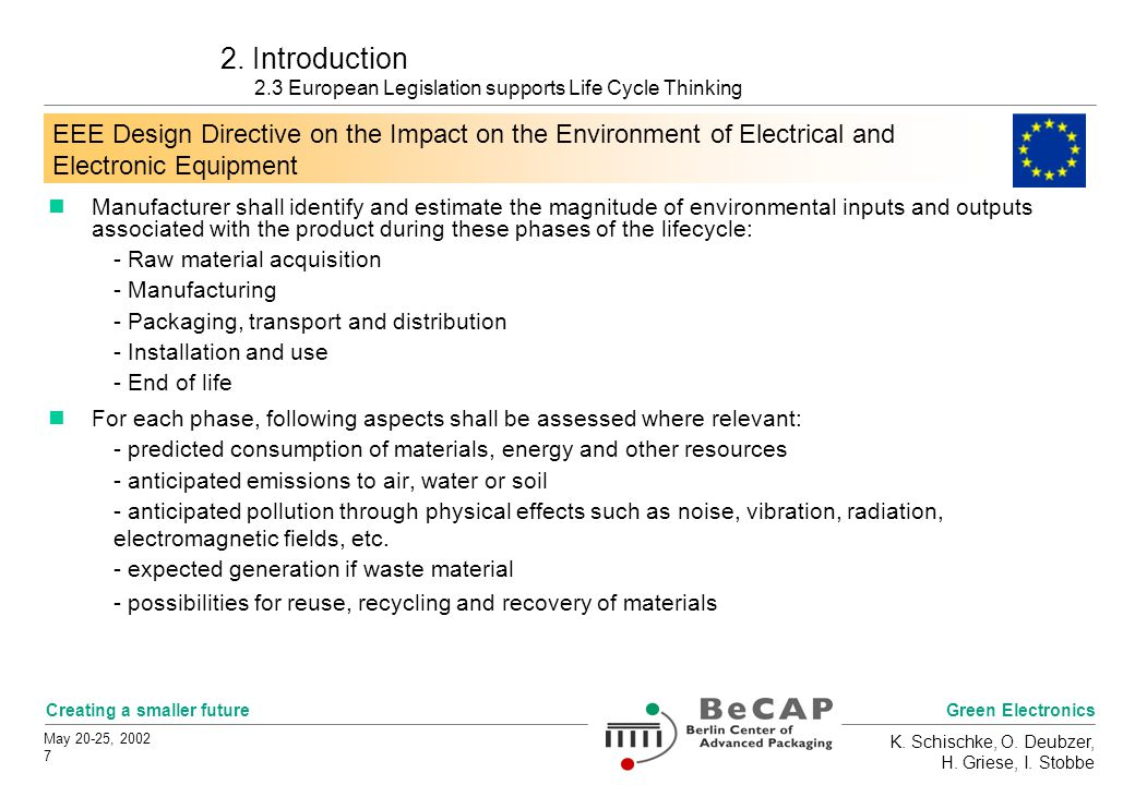 Green Electronics Creating a smaller future May 20-25, 2002 7 K.