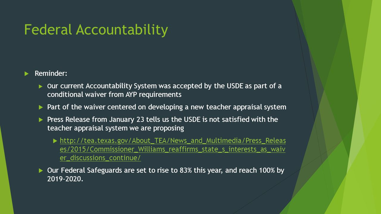 State Assessments Evaluated in 2015 Accountability  The STAAR mathematics bridge studies will compare performance on the new STAAR mathematics assessments to performance on the 2012–2014 STAAR mathematics assessments in order to ensure that the performance standards applied for 2015 accountability purposes are equivalent to the original STAAR mathematics performance standards.