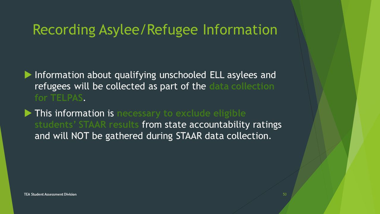 Recording Asylee/Refugee Information  Information about qualifying unschooled ELL asylees and refugees will be collected as part of the data collecti