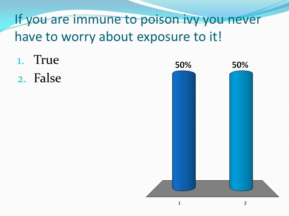 If you are immune to poison ivy you never have to worry about exposure to it! 1. True 2. False