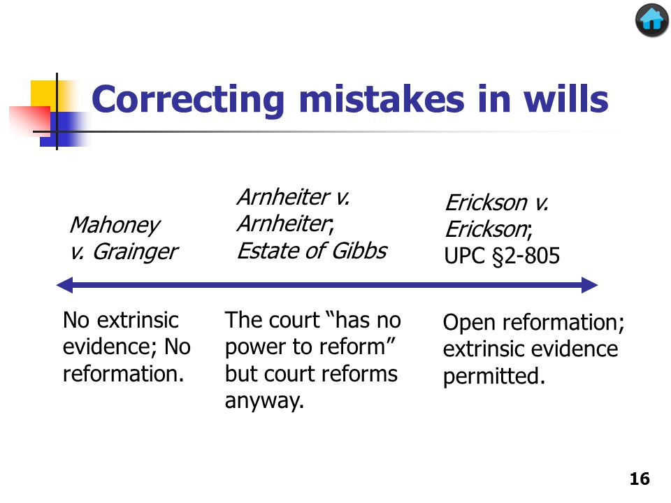 Correcting mistakes in wills Mahoney v. Grainger Erickson v.