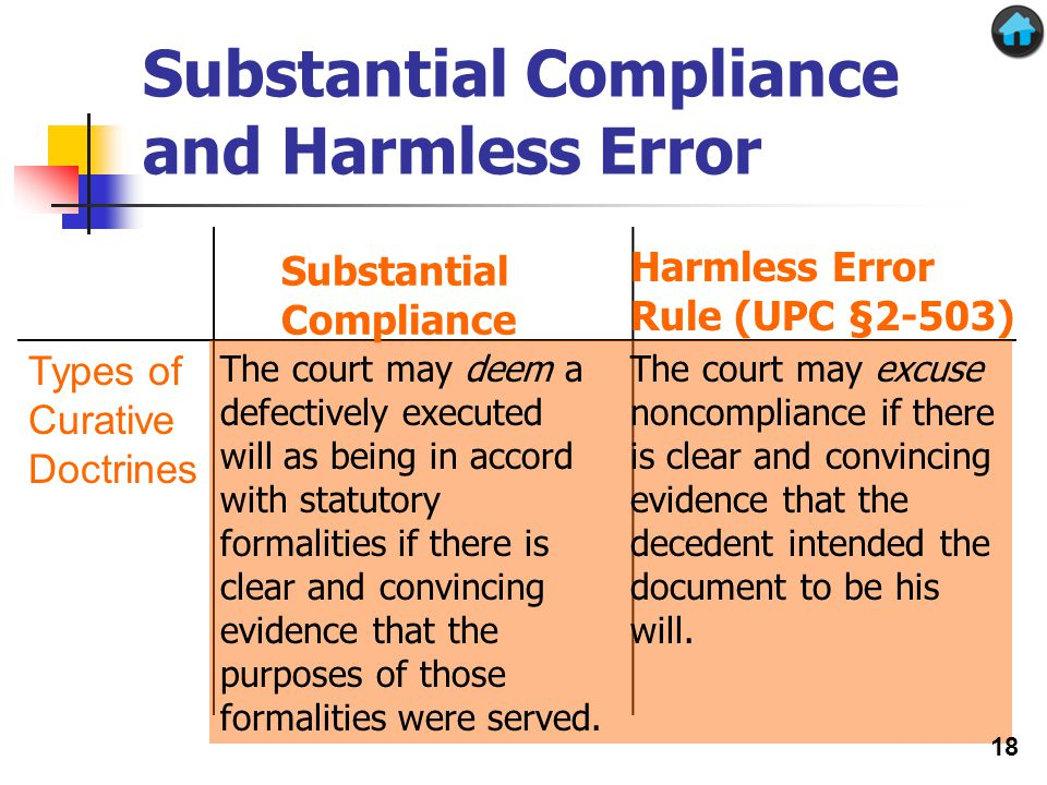 Substantial Compliance and Harmless Error Types of Curative Doctrines The court may deem a defectively executed will as being in accord with statutory formalities if there is clear and convincing evidence that the purposes of those formalities were served.
