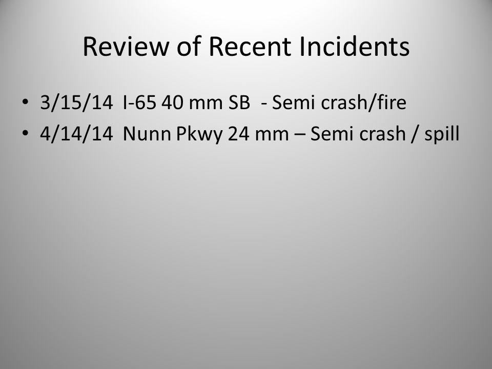 Review of Recent Incidents 3/15/14 I-65 40 mm SB - Semi crash/fire 4/14/14 Nunn Pkwy 24 mm – Semi crash / spill