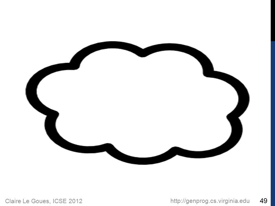 Claire Le Goues, ICSE 2012 http://genprog.cs.virginia.edu 49