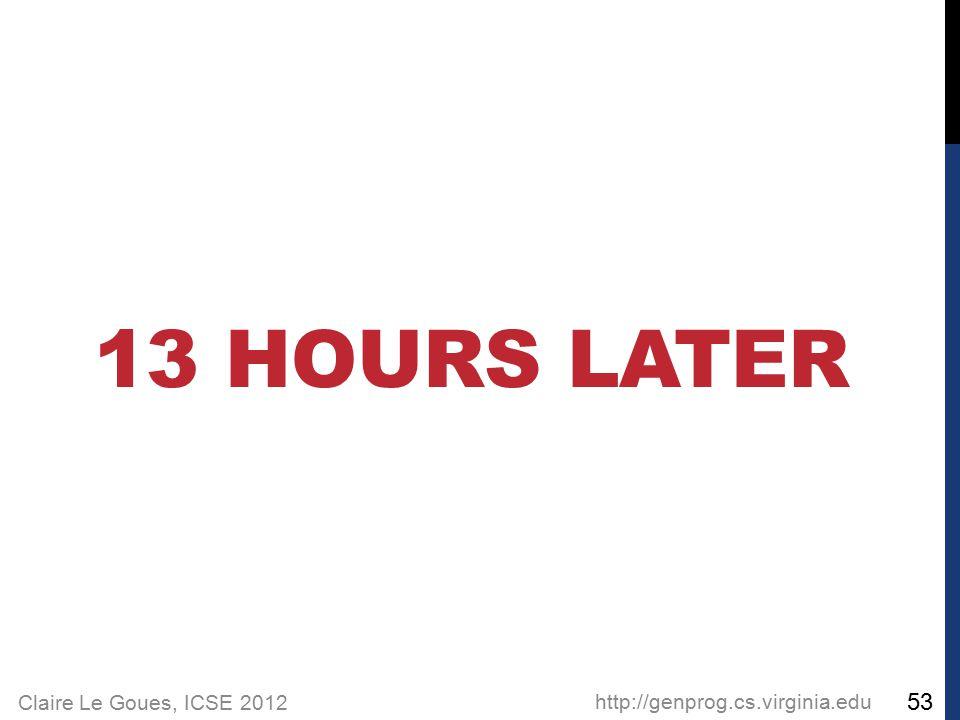 Claire Le Goues, ICSE 2012 13 HOURS LATER http://genprog.cs.virginia.edu 53