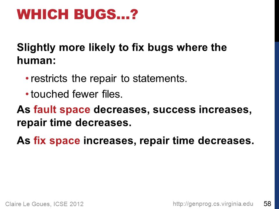 Claire Le Goues, ICSE 2012 WHICH BUGS…? Slightly more likely to fix bugs where the human: restricts the repair to statements. touched fewer files. As