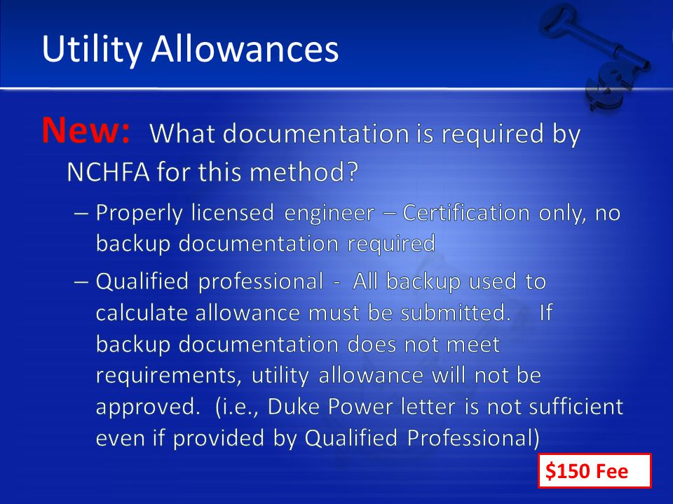Utility Allowances $150 Fee