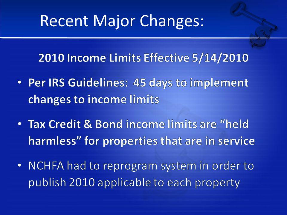 Recent Major Changes:
