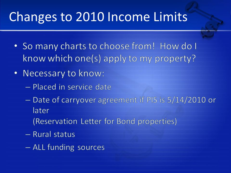 Changes to 2010 Income Limits