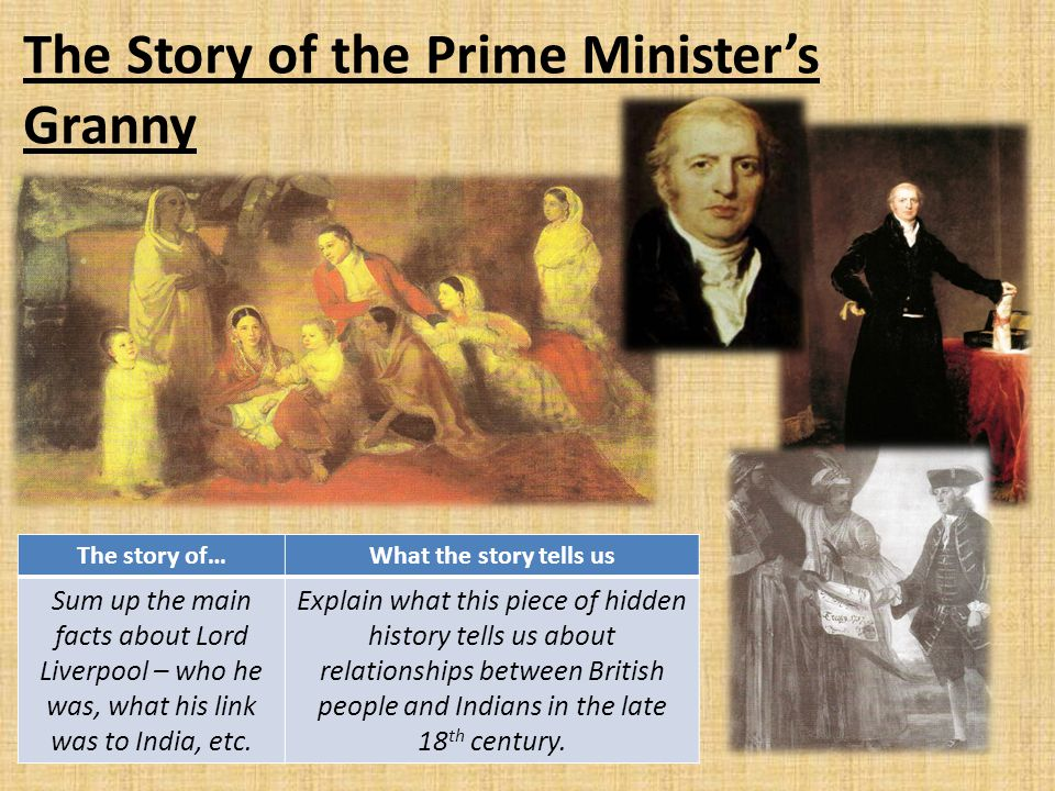 The Story of the Prime Minister's Granny The story of…What the story tells us Sum up the main facts about Lord Liverpool – who he was, what his link w