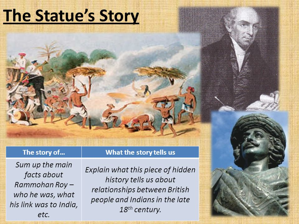 The Statue's Story The story of…What the story tells us Sum up the main facts about Rammohan Roy – who he was, what his link was to India, etc. Explai