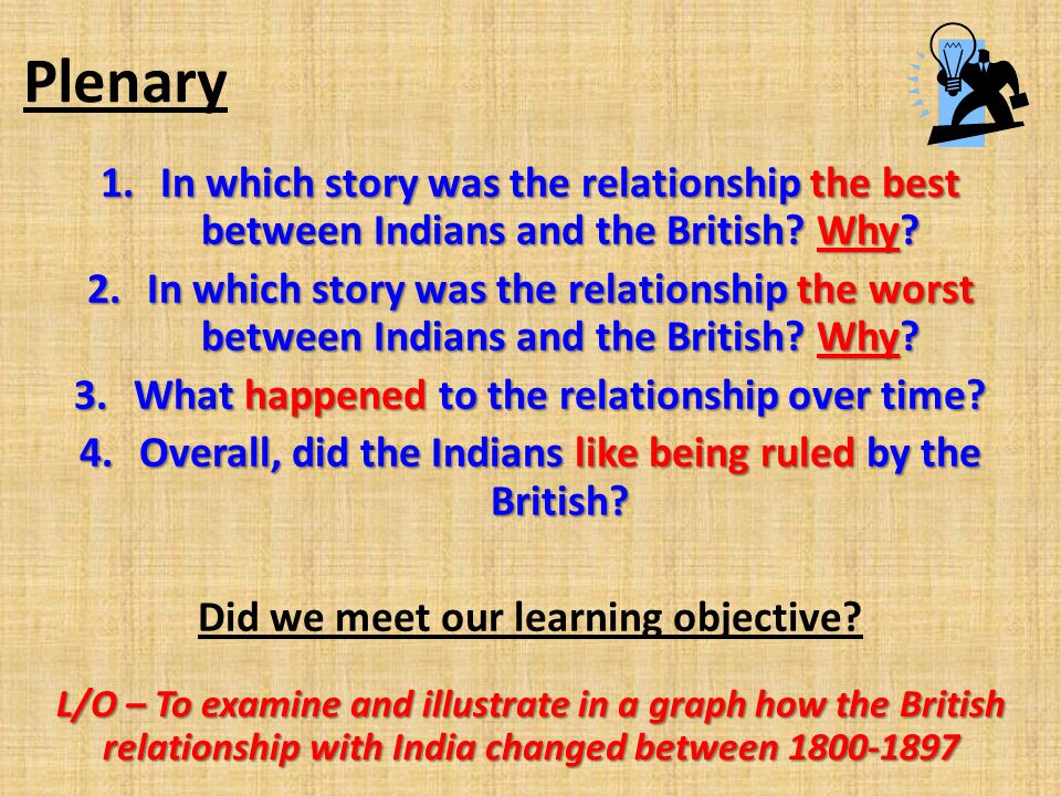 Plenary 1.In which story was the relationship the best between Indians and the British? Why? 2.In which story was the relationship the worst between I