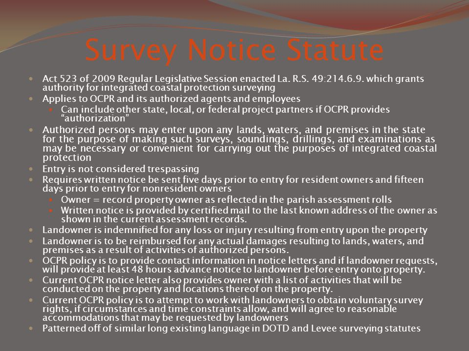 Survey Notice Statute Act 523 of 2009 Regular Legislative Session enacted La.