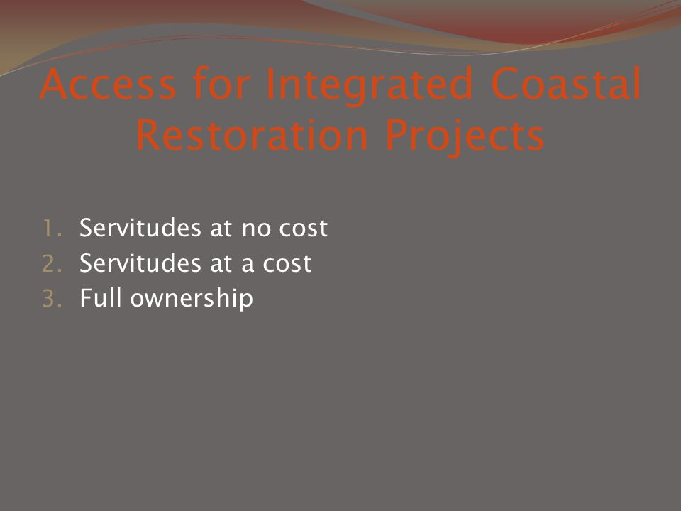 Access for Integrated Coastal Restoration Projects 1.