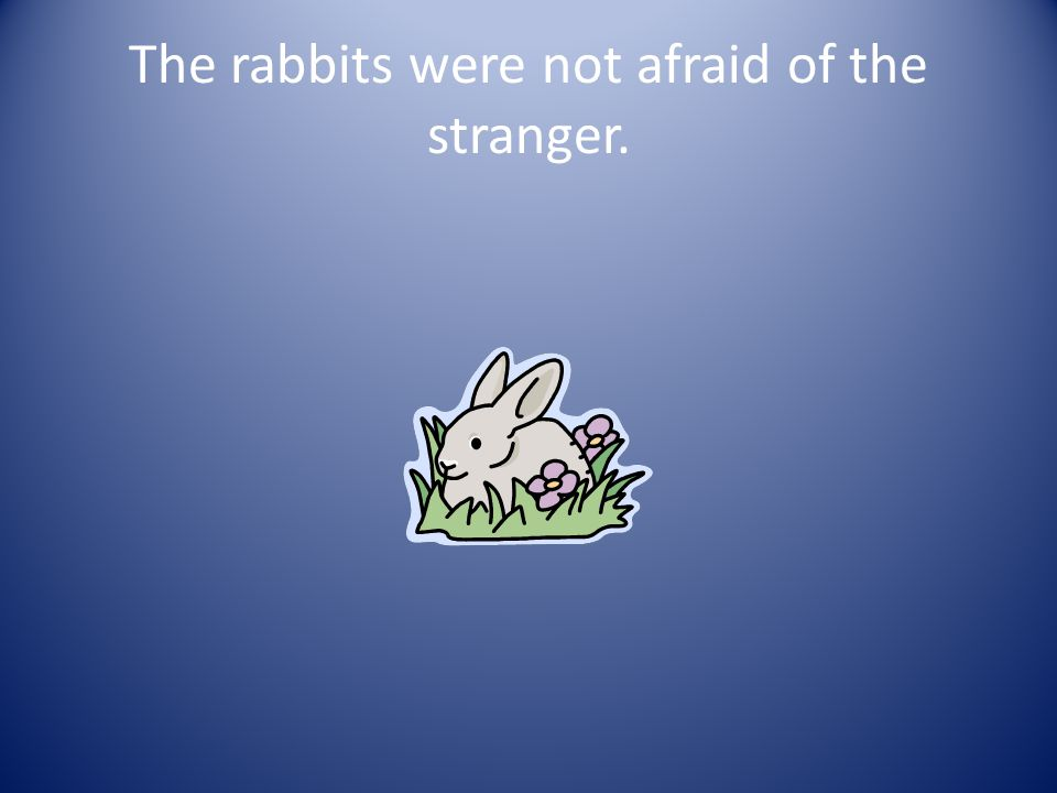 9. How was the stranger different? A. He ate hot soup. B. The sun did not set. C. The rabbits were not afraid of him.