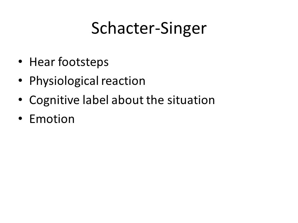 Schacter-Singer Hear footsteps Physiological reaction Cognitive label about the situation Emotion