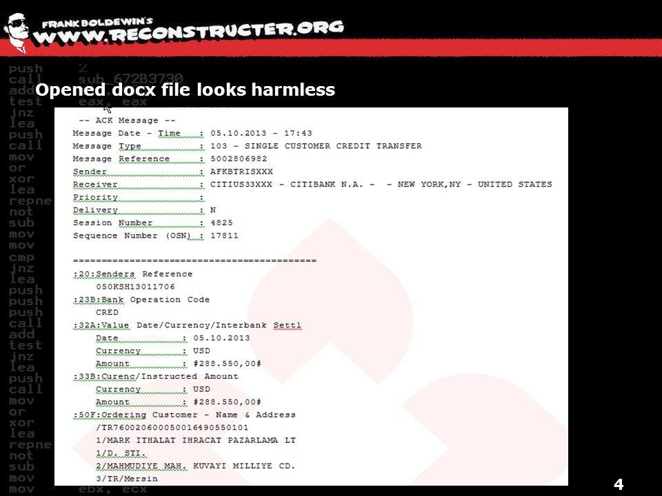 Opened docx file looks harmless 4