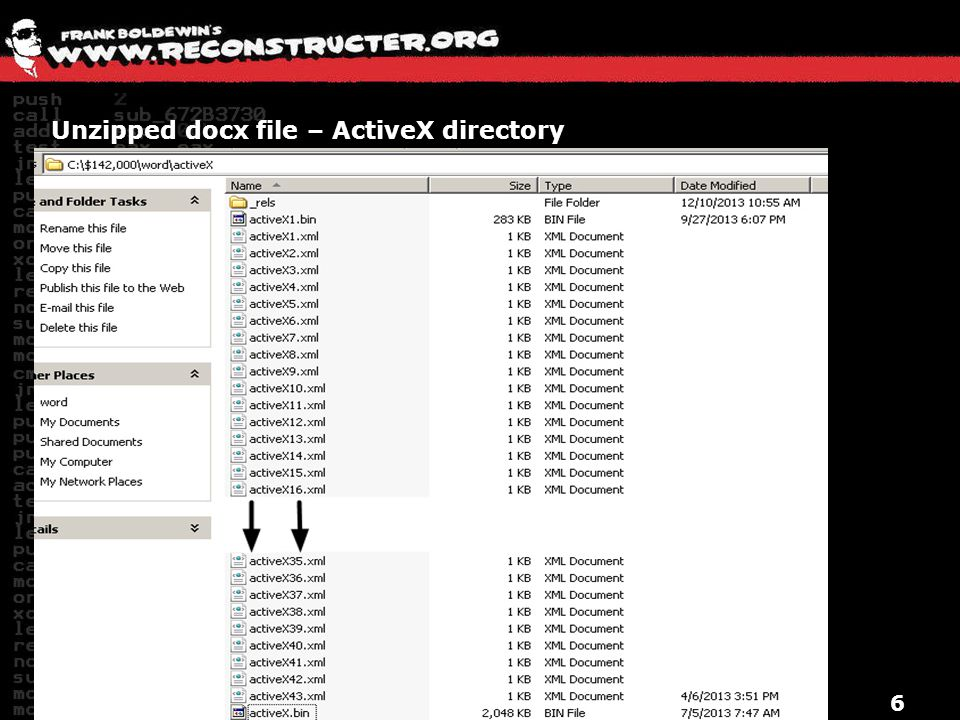 Unzipped docx file – ActiveX directory 6