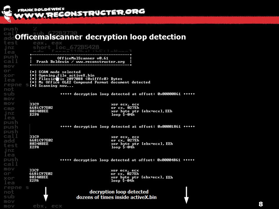 Officemalscanner decryption loop detection 8