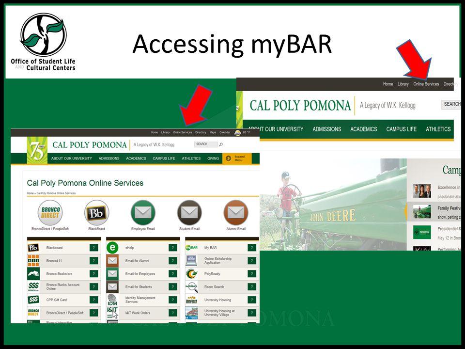 Accessing myBAR