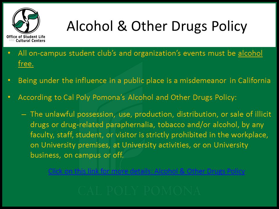 All on-campus student club's and organization's events must be alcohol free.