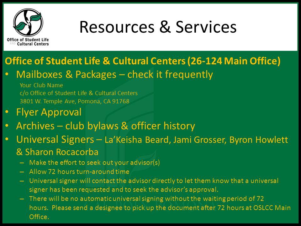 Resources & Services Cont.