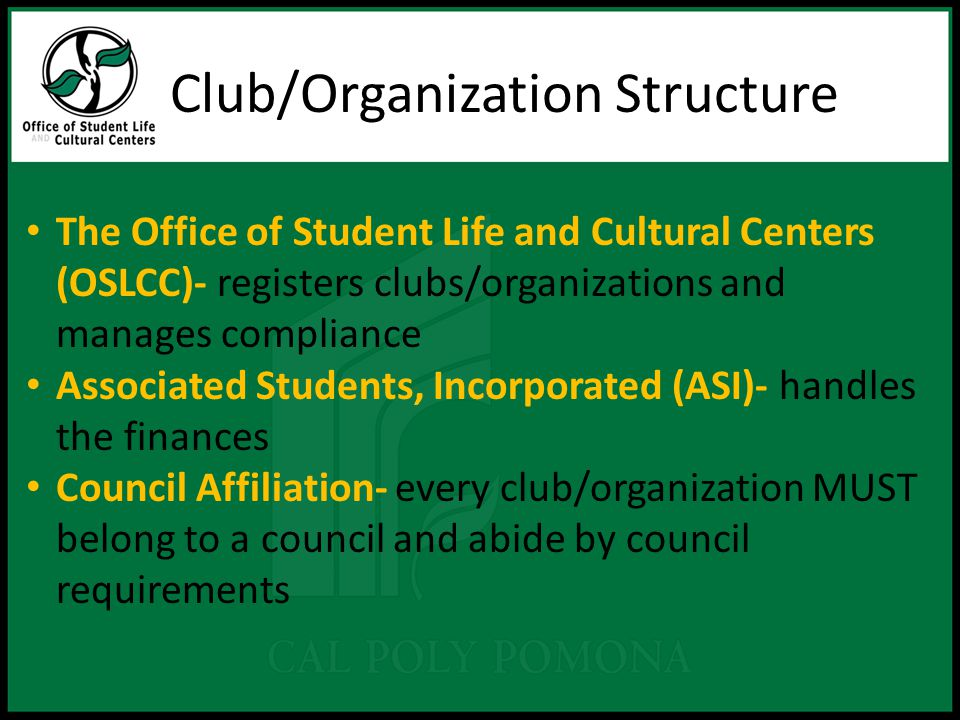 Club/Organization Structure The Office of Student Life and Cultural Centers (OSLCC)- registers clubs/organizations and manages compliance Associated Students, Incorporated (ASI)- handles the finances Council Affiliation- every club/organization MUST belong to a council and abide by council requirements