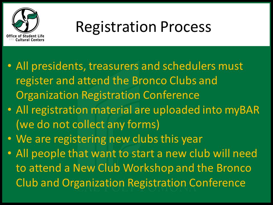 What is My Bronco Activity Record (myBAR) is a program designed to keep track of your club membership(s), leadership role(s), awards earned, employment and involvement on & off campus.