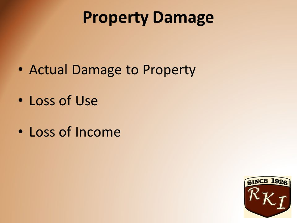Property Damage Actual Damage to Property Loss of Use Loss of Income