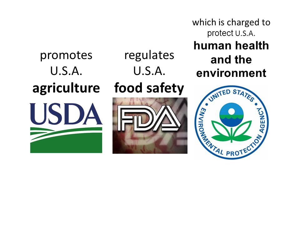 promotes U.S.A. agriculture regulates U.S.A. food safety which is charged to protect U.S.A.