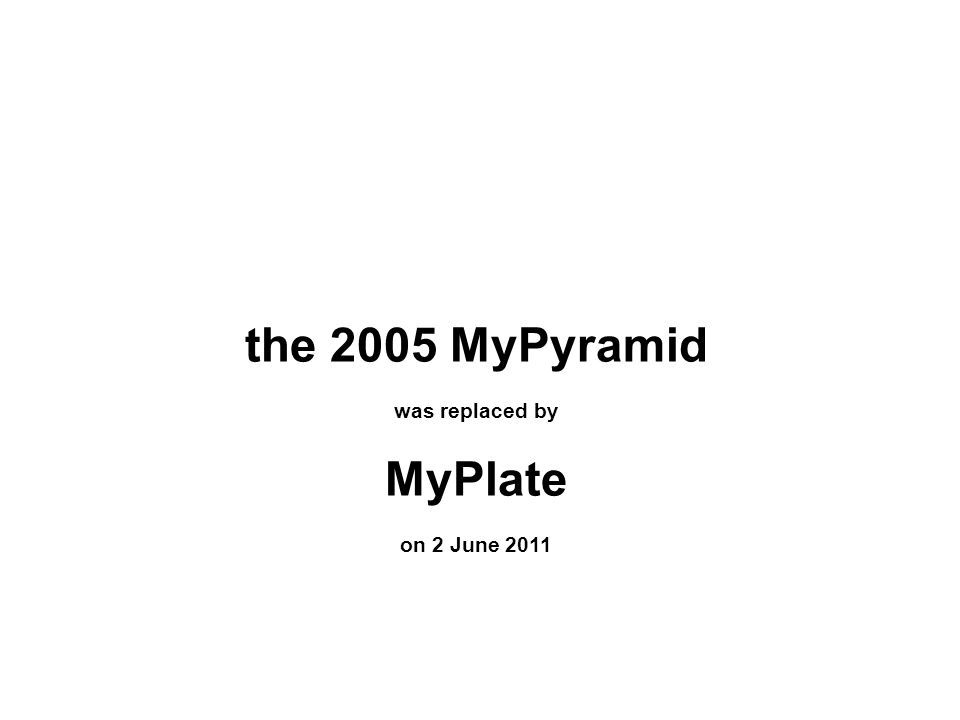 the 2005 MyPyramid was replaced by MyPlate on 2 June 2011