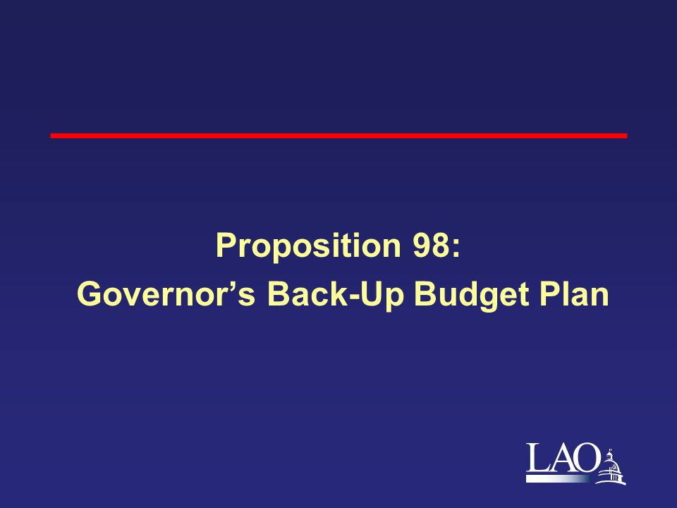 LAO Proposition 98: Governor's Back-Up Budget Plan