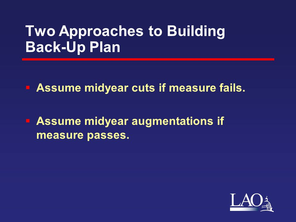 LAO Two Approaches to Building Back-Up Plan  Assume midyear cuts if measure fails.
