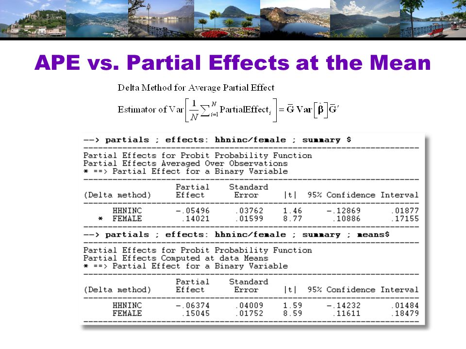 APE vs. Partial Effects at the Mean