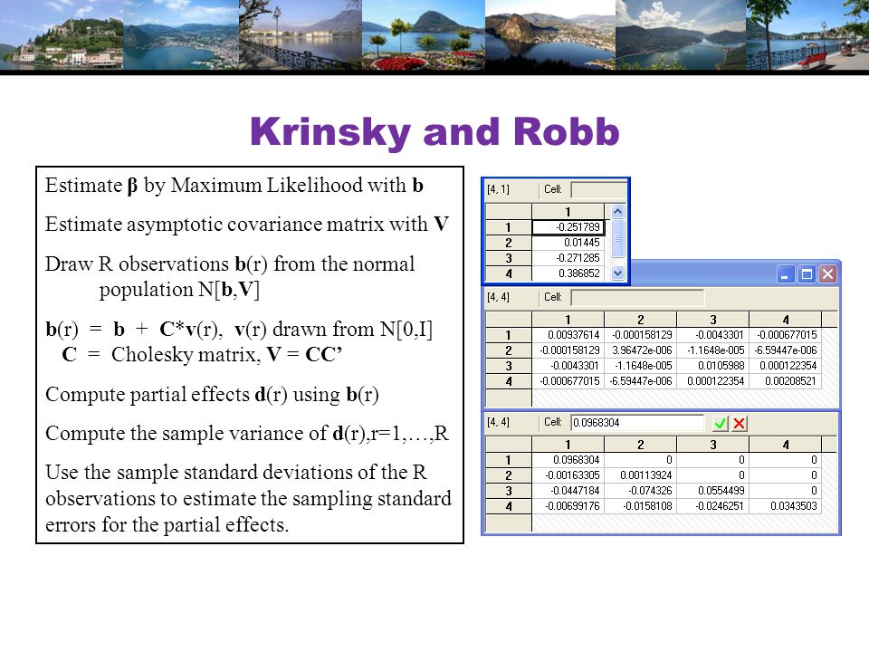 Krinsky and Robb Estimate β by Maximum Likelihood with b Estimate asymptotic covariance matrix with V Draw R observations b(r) from the normal population N[b,V] b(r) = b + C*v(r), v(r) drawn from N[0,I] C = Cholesky matrix, V = CC' Compute partial effects d(r) using b(r) Compute the sample variance of d(r),r=1,…,R Use the sample standard deviations of the R observations to estimate the sampling standard errors for the partial effects.