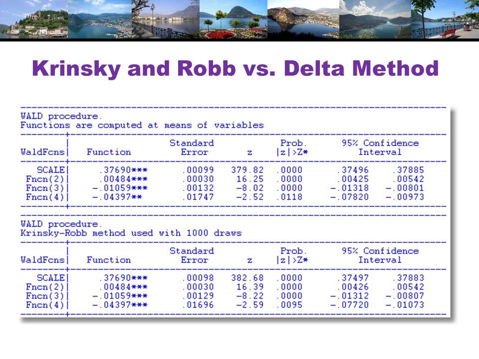 Krinsky and Robb vs. Delta Method
