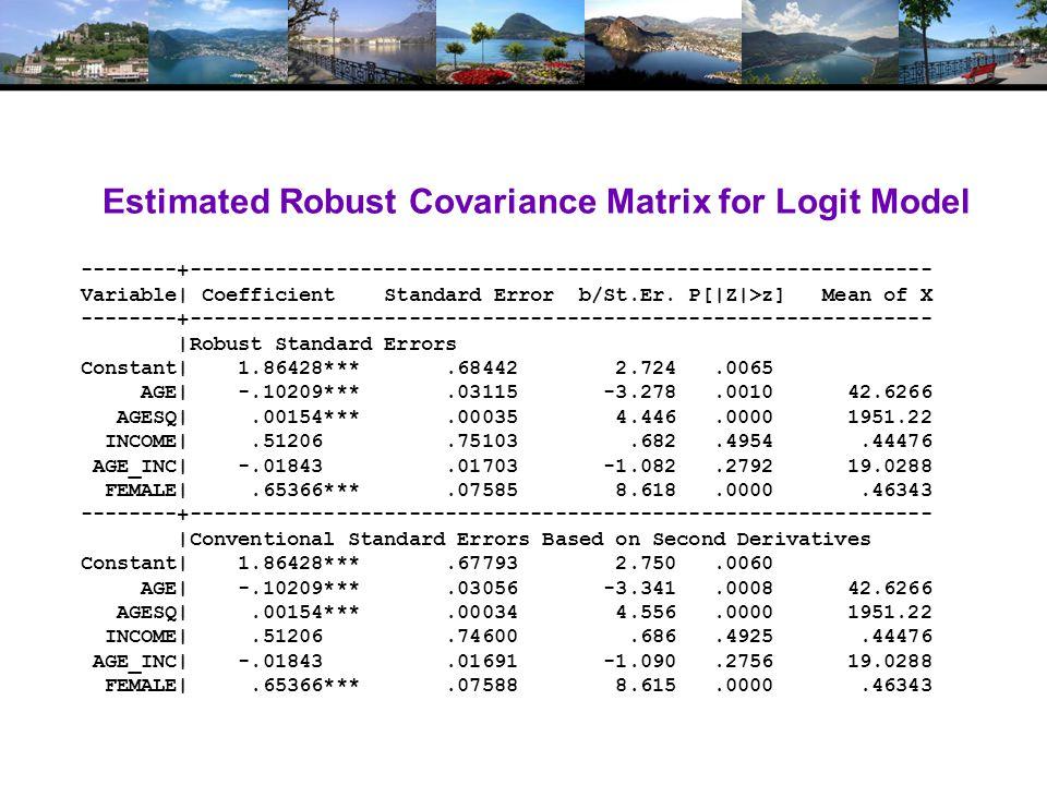Estimated Robust Covariance Matrix for Logit Model --------+------------------------------------------------------------- Variable| Coefficient Standard Error b/St.Er.