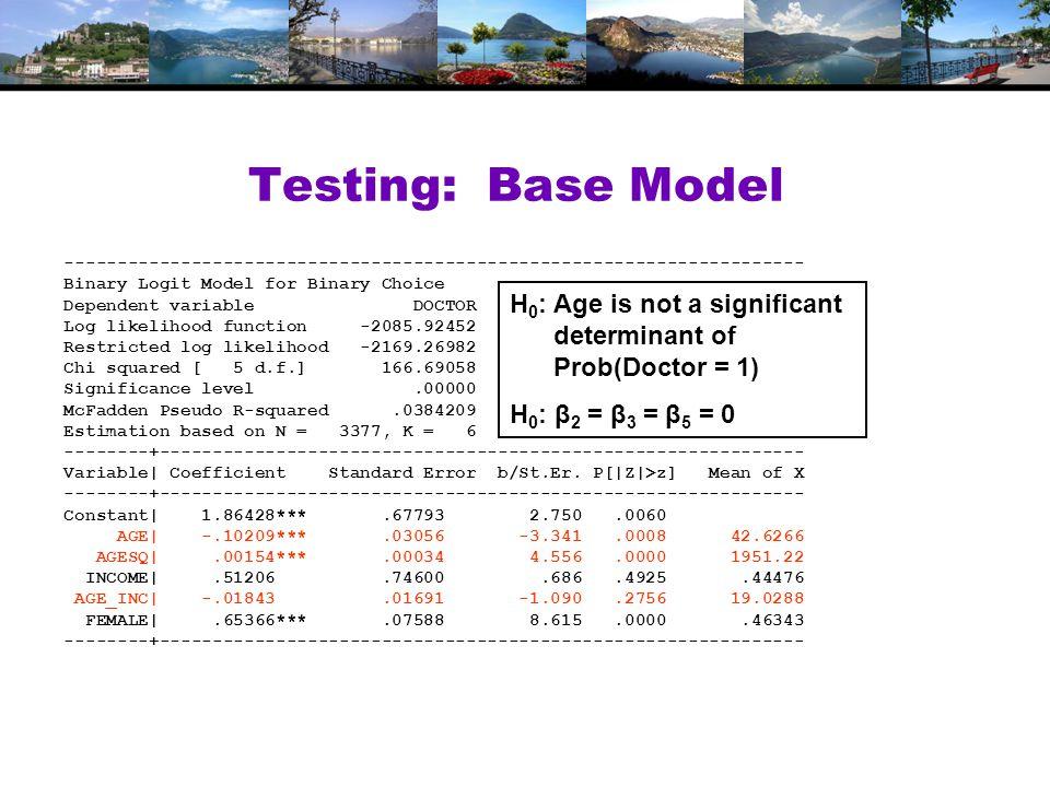 Testing: Base Model ---------------------------------------------------------------------- Binary Logit Model for Binary Choice Dependent variable DOCTOR Log likelihood function -2085.92452 Restricted log likelihood -2169.26982 Chi squared [ 5 d.f.] 166.69058 Significance level.00000 McFadden Pseudo R-squared.0384209 Estimation based on N = 3377, K = 6 --------+------------------------------------------------------------- Variable| Coefficient Standard Error b/St.Er.